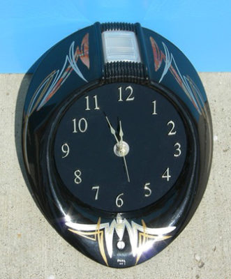 #90 Paul Straus - Buffalo, New York February 2006, It is a headlight bezzle from a 1940 Ford, made into a CLOCK!